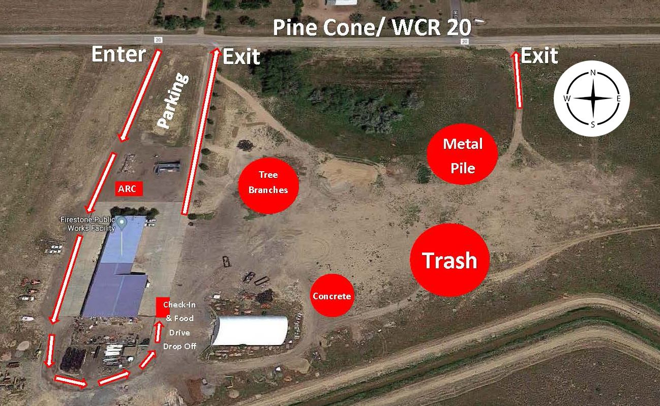 A map of where you enter and exit Public Works. Indicated check in area, and where piles of metal, t