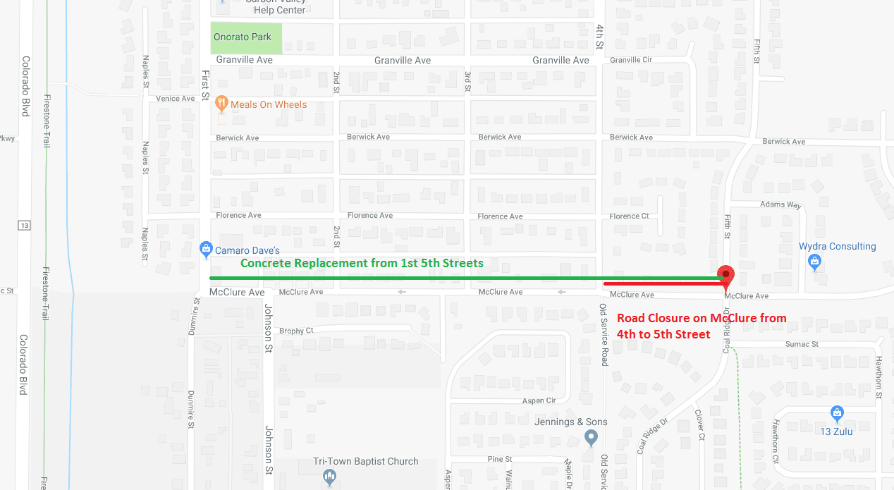 Map showing the concrete work and road closure on McClure