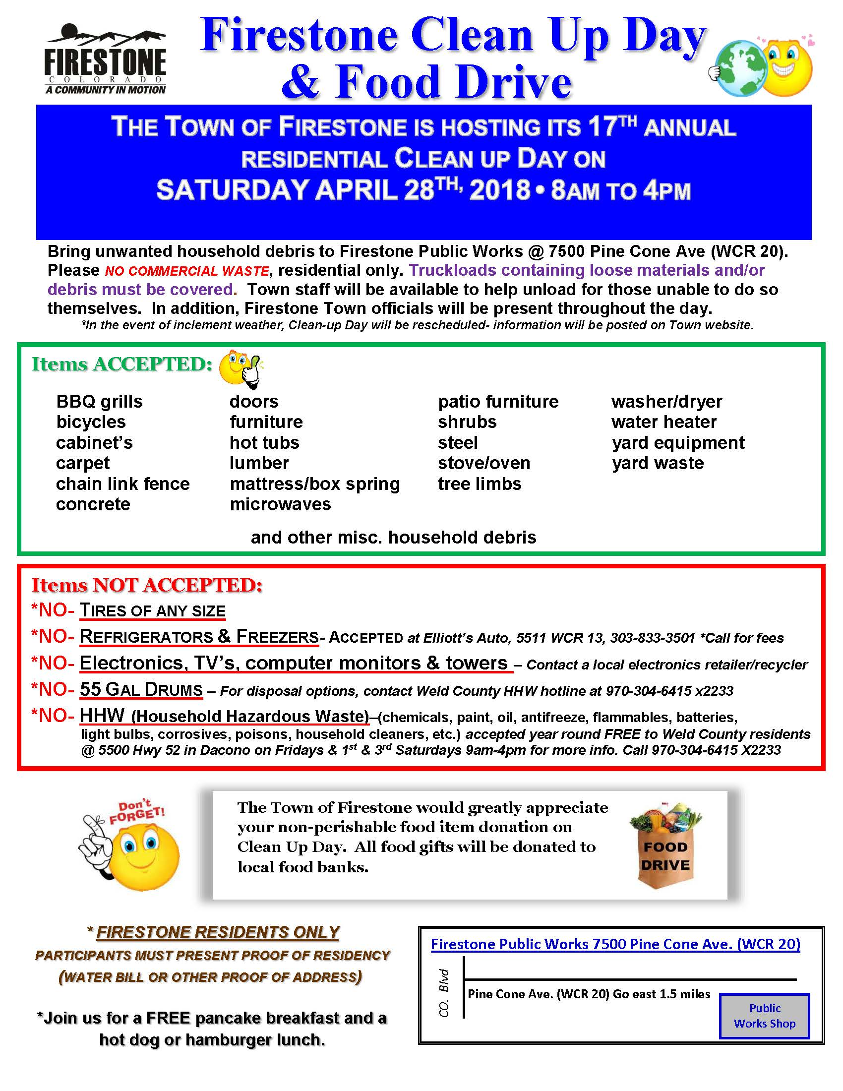 A flyer for the 2018 Clean-Up Day that details what is and is not allowed. Additional information li