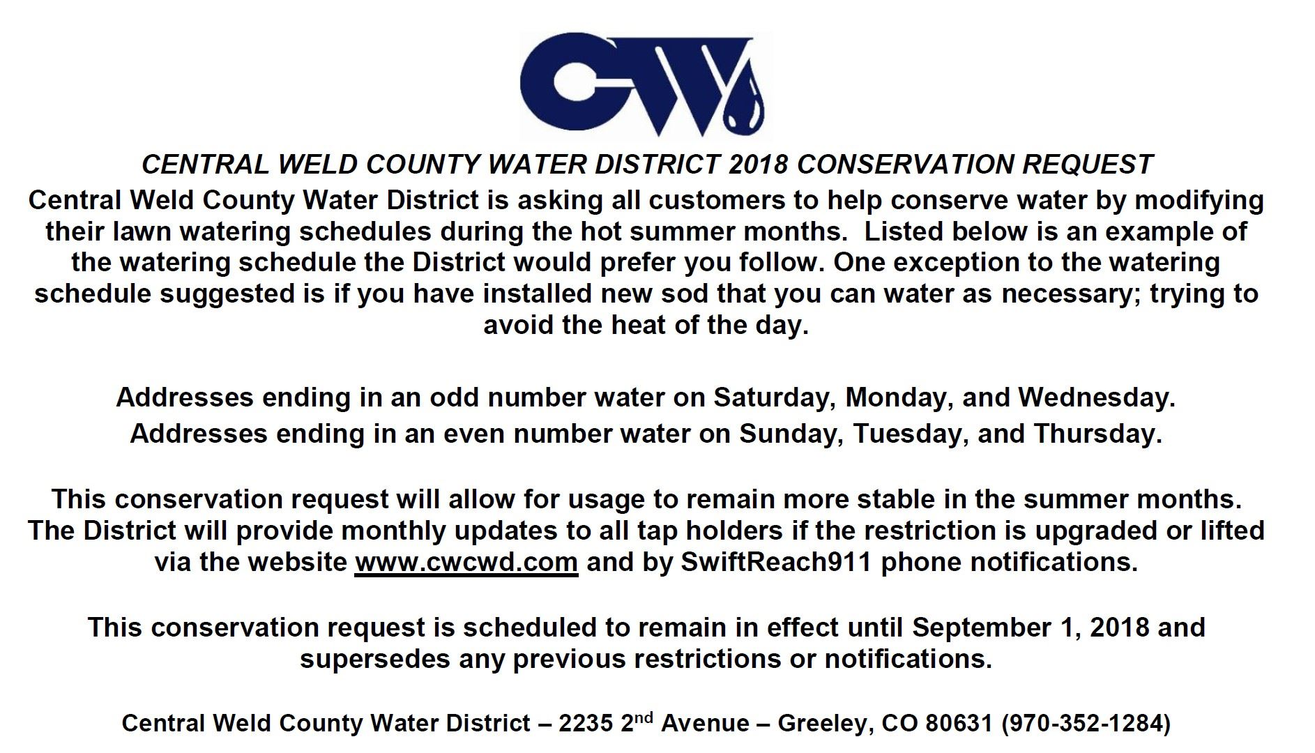 CWCWD 6-25-2018 Water Restriction Request