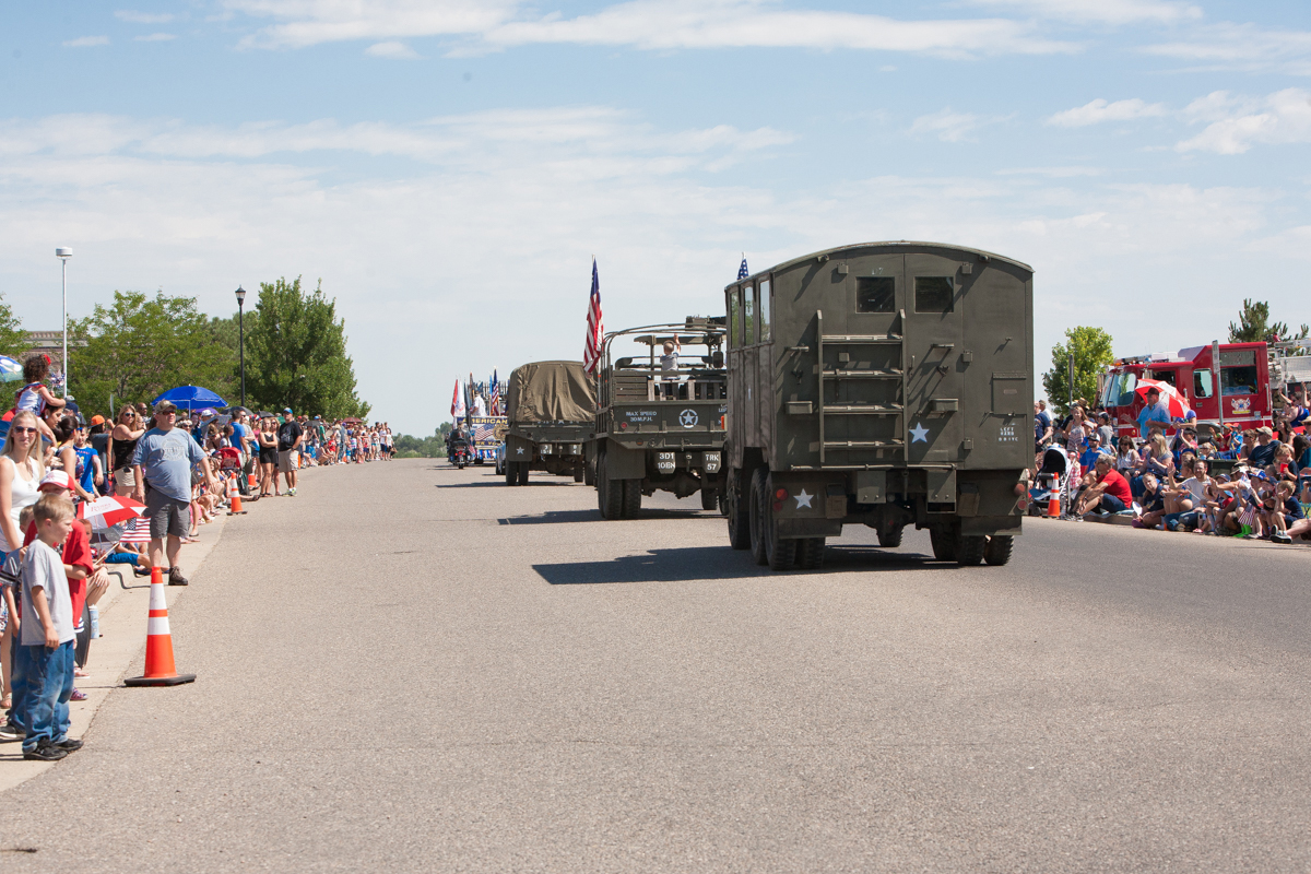 Army trucks in parade