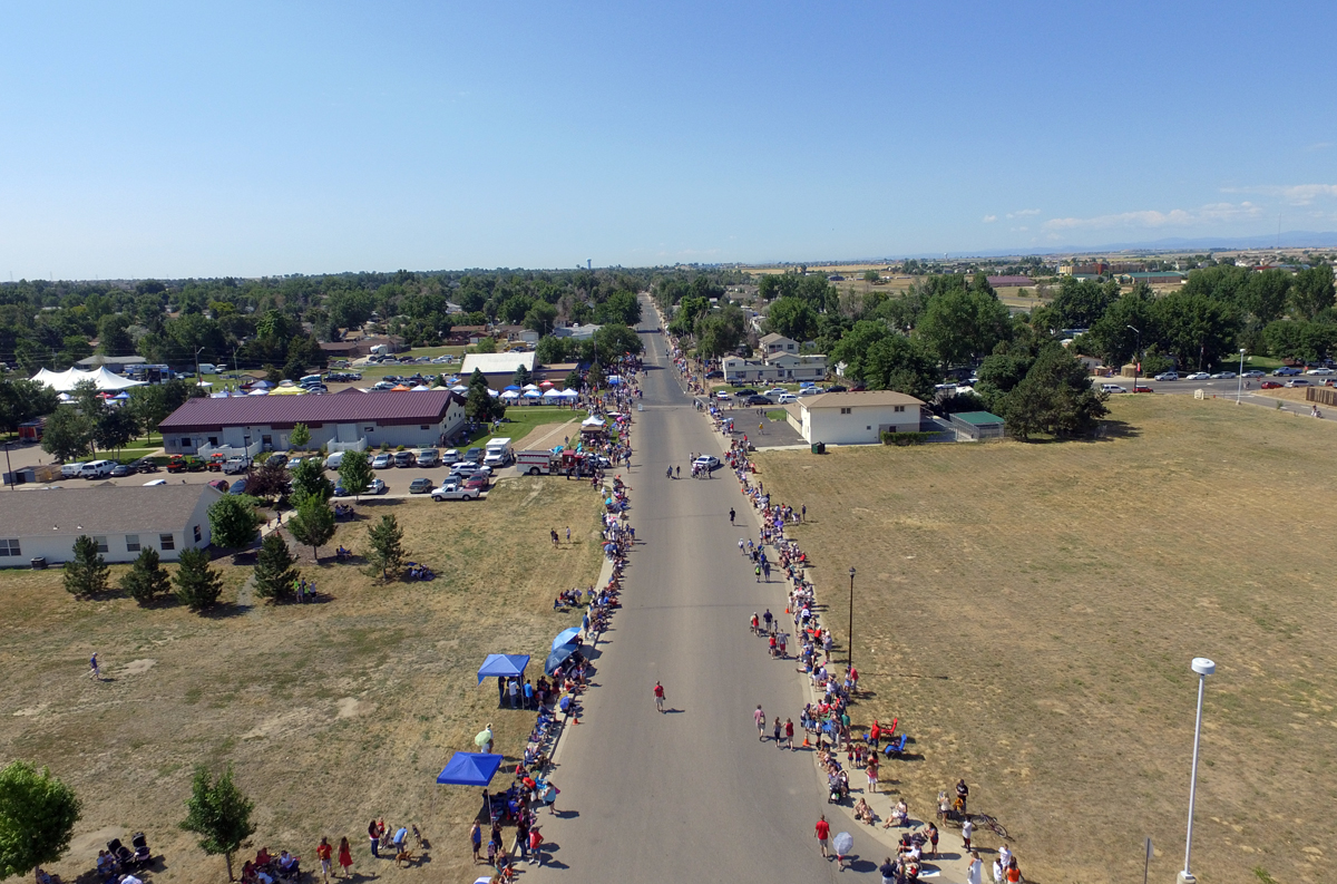 Aerial view of Parade spectators