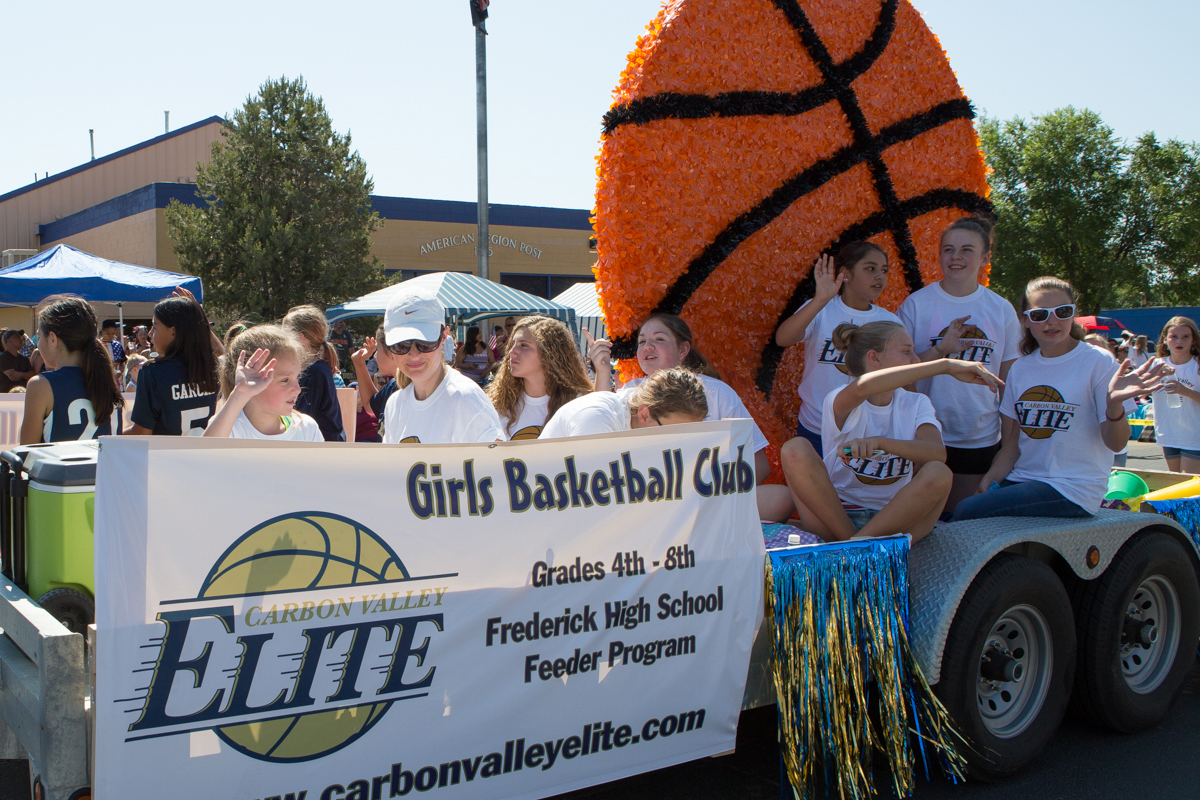 Carbon Valley Elite Girls Basketball Club in parade