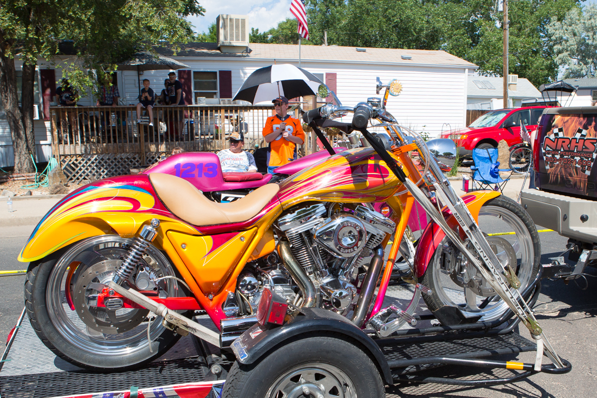 Custom motorcycles in parade
